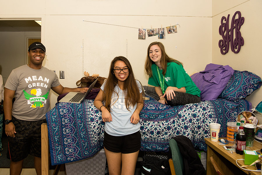 Students in dorm room
