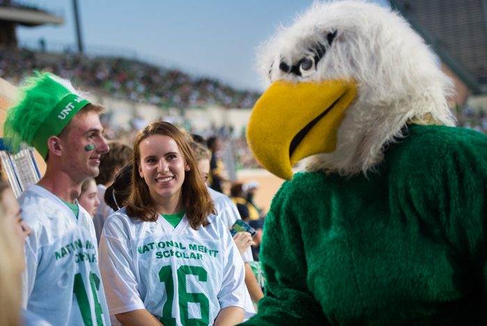 Hanging out with Scrappy at a Mean Green football game