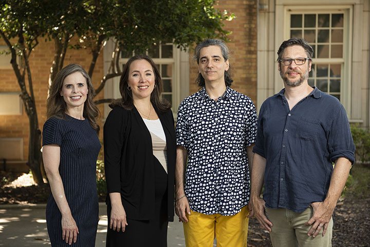 2019 IAA Faculty Fellows, from left, Lari Gibbons, Fabiana Claure, Panayiotis Kokoras, Corey Marks