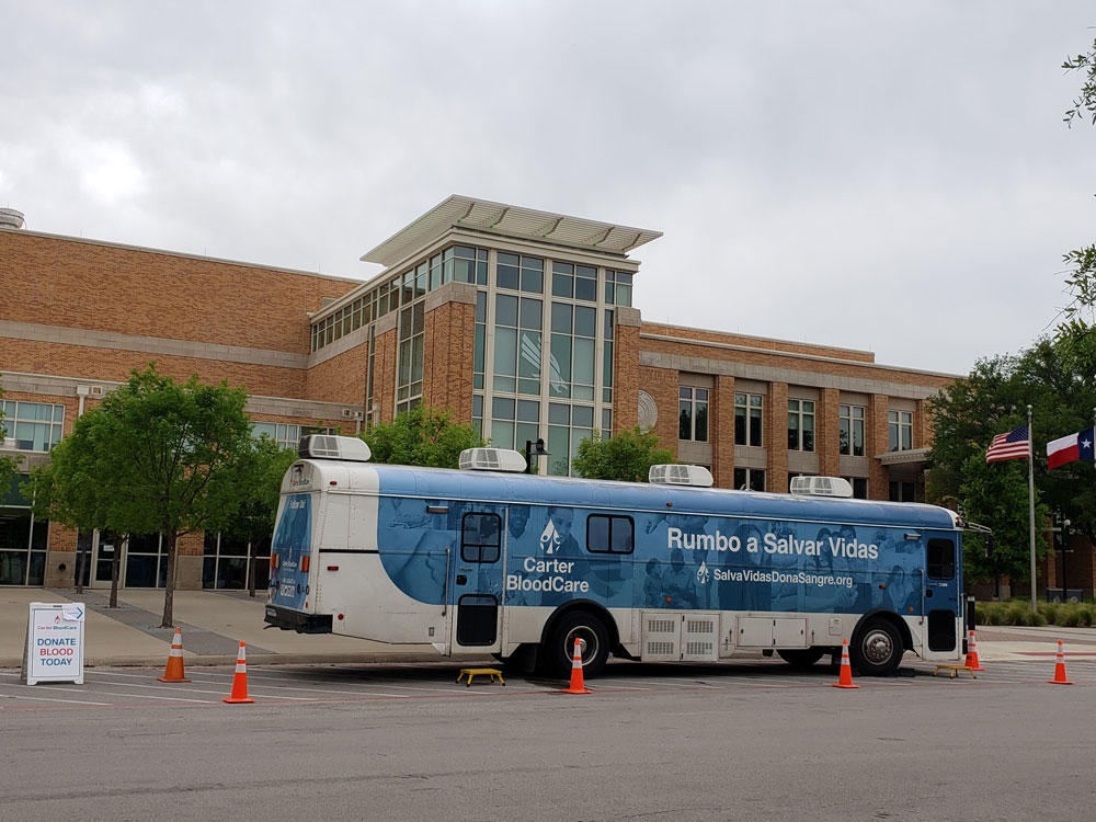 Blood drive bus in front of the Union