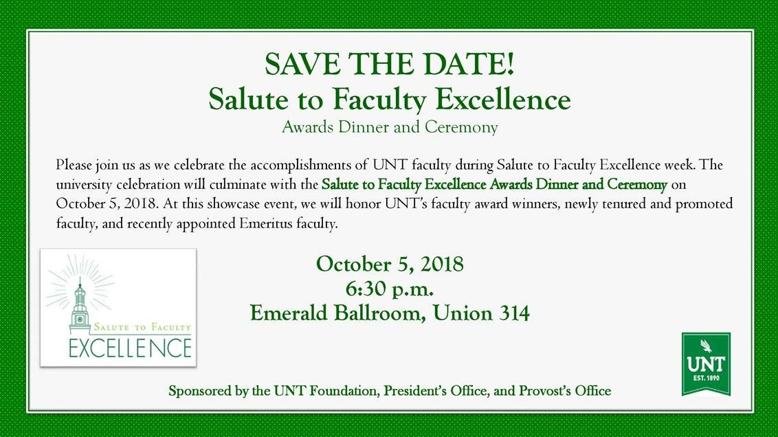 Salute to Faculty Excellence Invitation