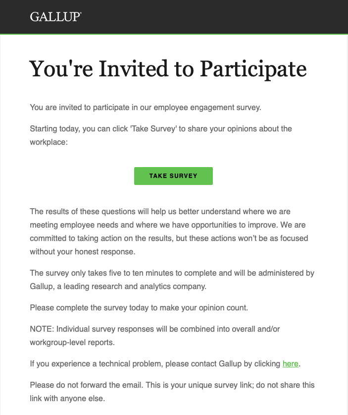 Graphic of Gallup survey email sample