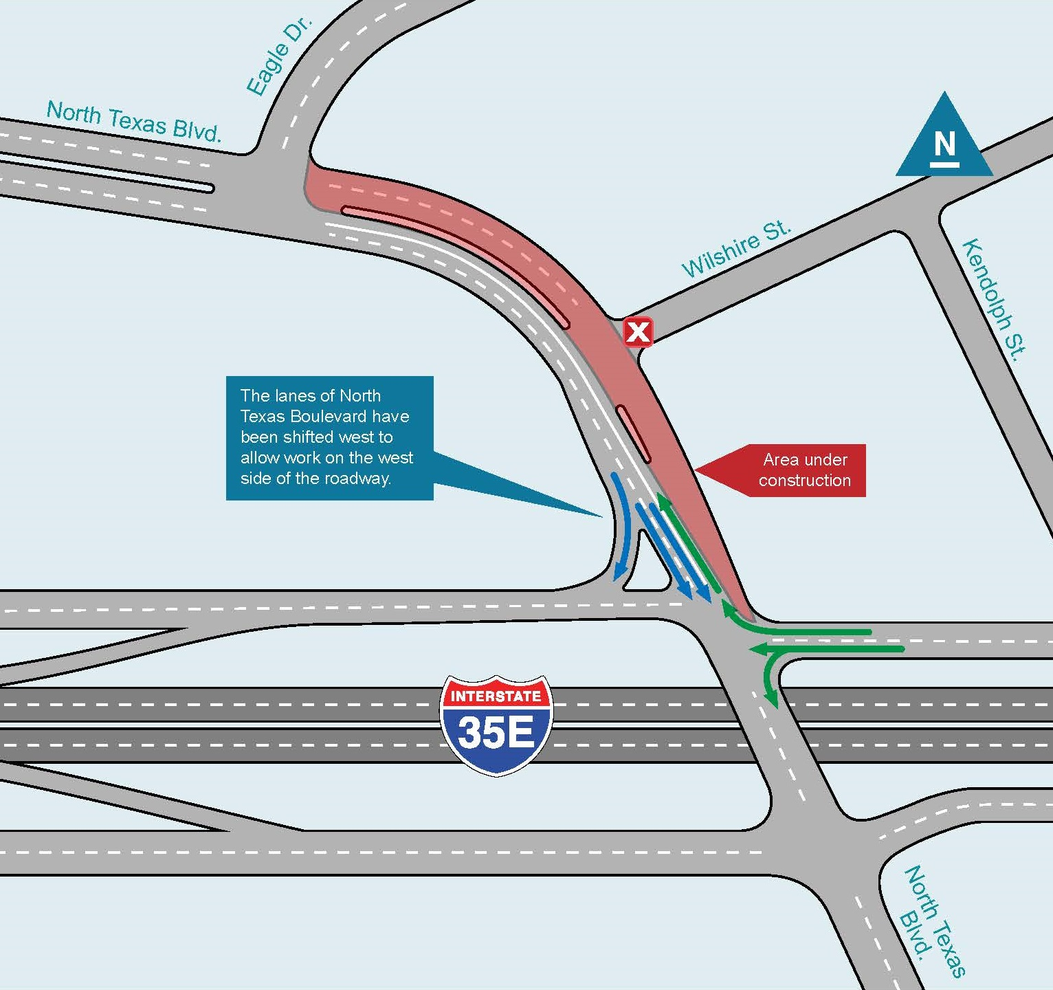 I-35E construction near North Texas Blvd map