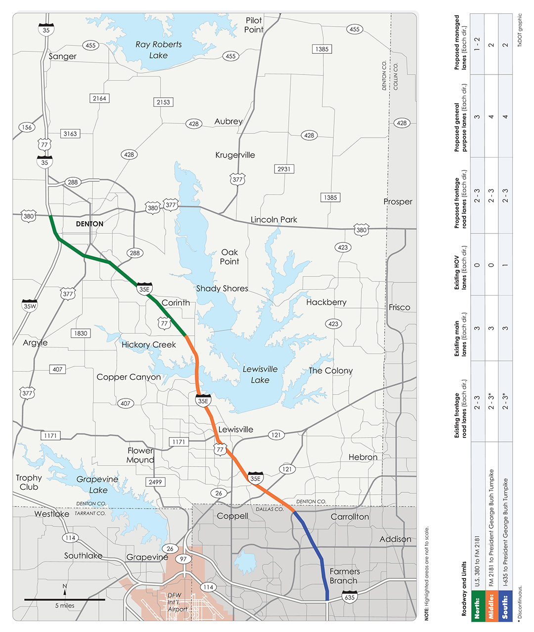 I-35E construction segment map