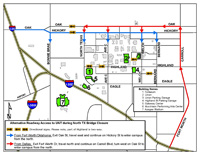 I-35E traffic detours for North Texas Blvd map