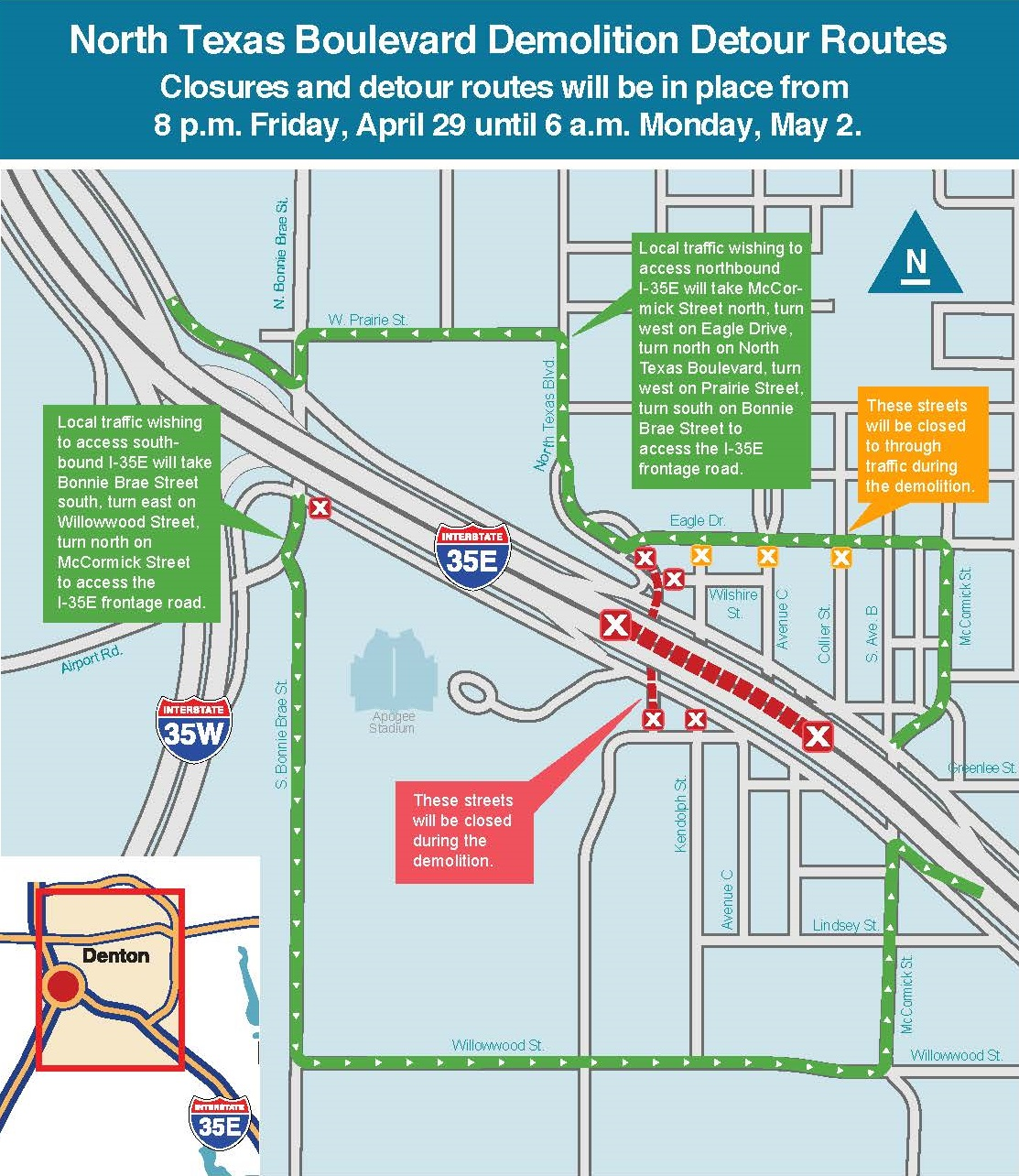 I-35E traffic alternate routes for North Texas Blvd map