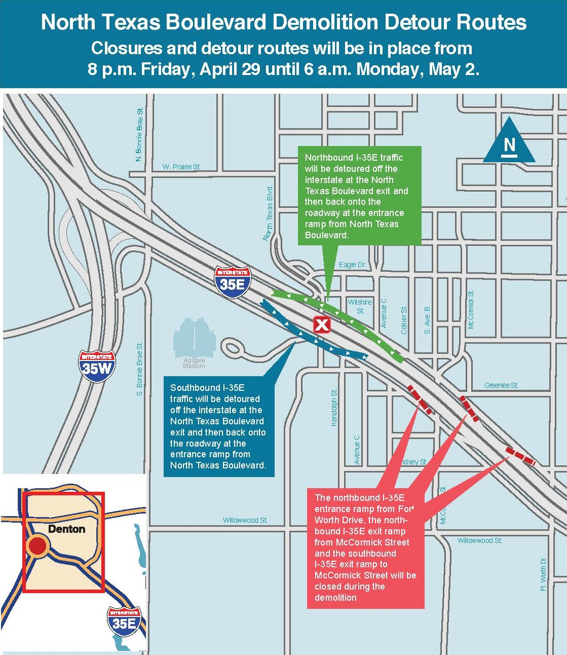 I 35E Traffic Detours For North Texas Blvd Map  Unt Blackboard