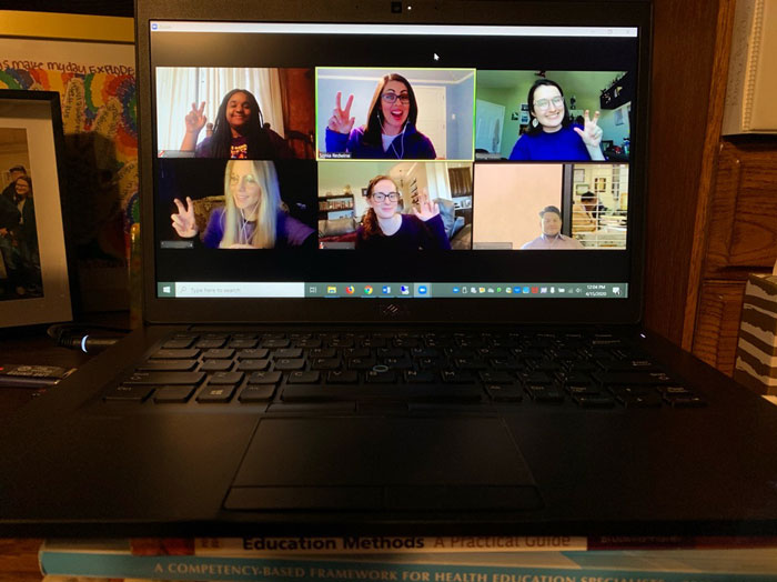 Members of the Collegiate Recovery Program team on a Zoom conference call