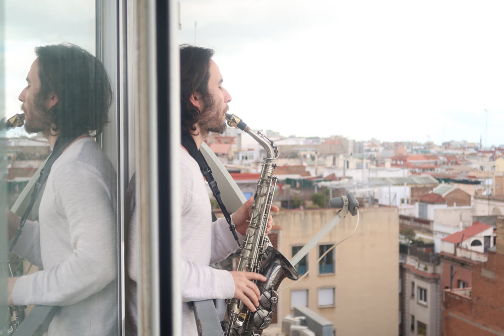 Sami Perfecto playing saxophone