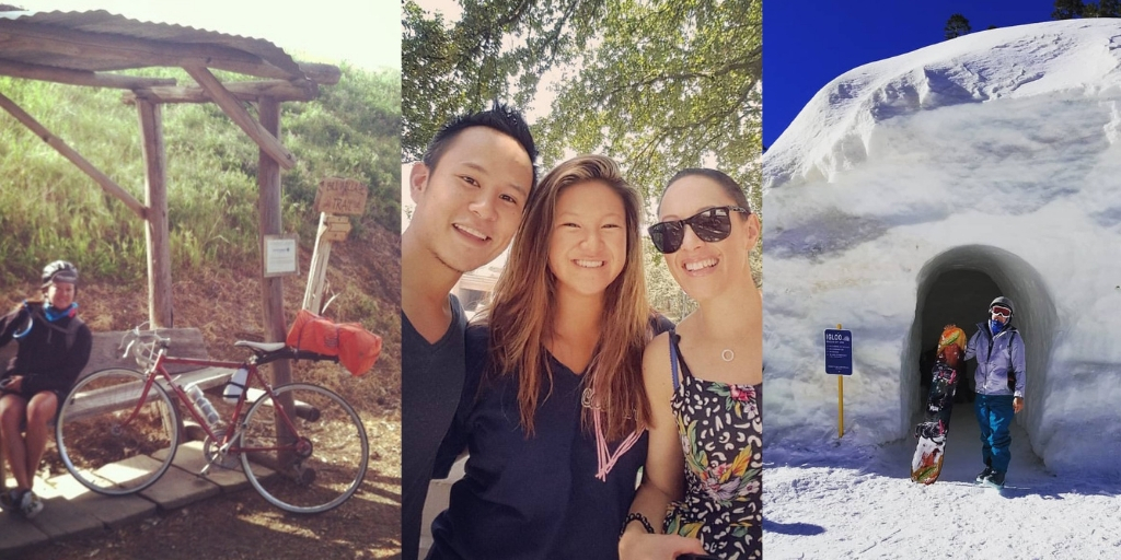 Sandy Nguyen with her bicycle, with friends and skiing
