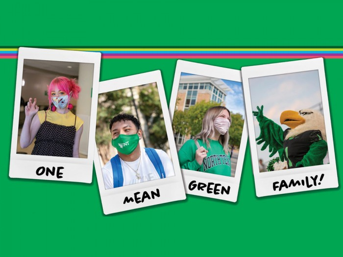 Graphic featuring individual portraits of UNT students and Scrappy